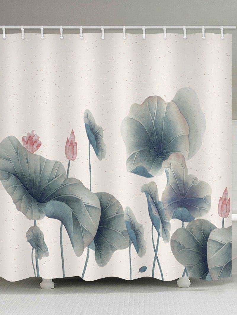 Lotus Leaves And Lotus Print Bathroom Water Resistant Shower Curtain Shower Curtain Lotus Print Shower Curtain Art
