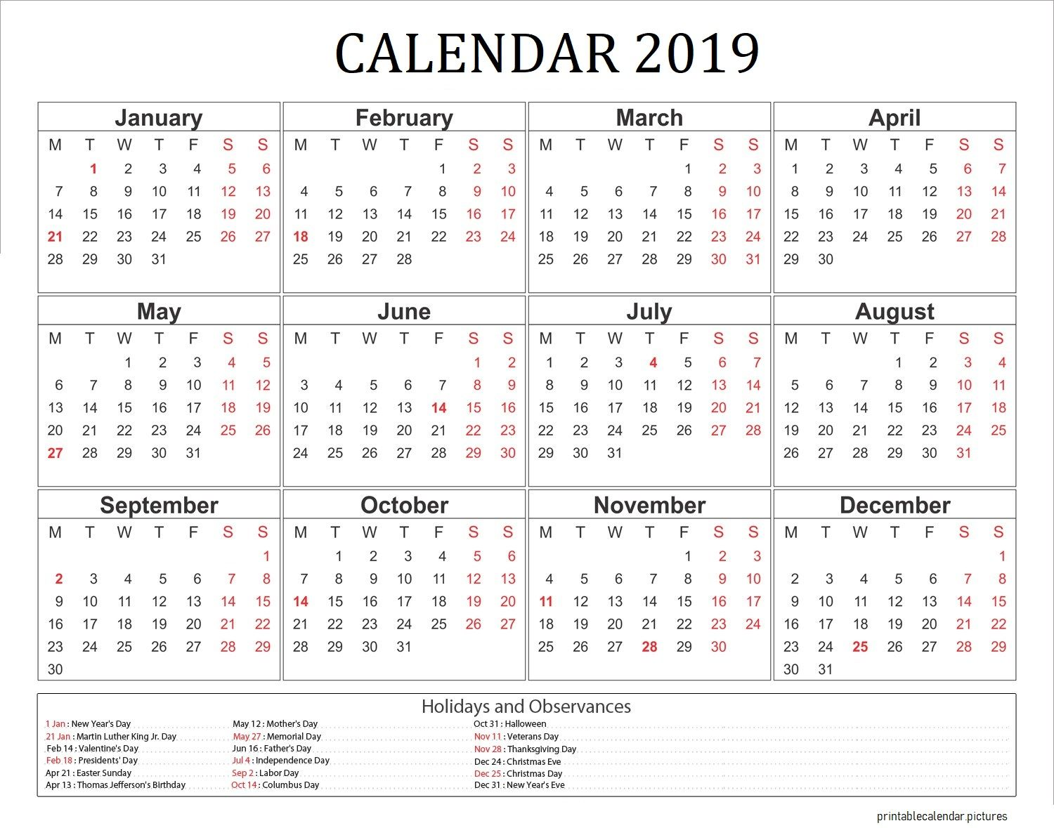 2019 Calendar With Holidays Usa 2019 Calendar Calendar 2019