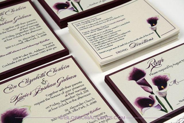 Purple Calla Lilies Invitations Wedding Blossoms Purple Calla