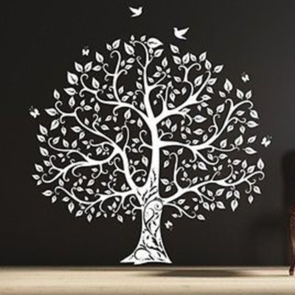 Gorgeous Leaved Bird And Butterfly Tree Single Color Vinyl Wall