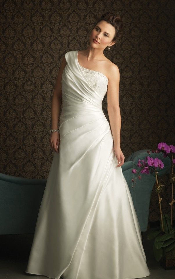 Tropical One Shoulder Court Train Sleeveless Satin A-line Wedding Dresses - Wedding Dresses