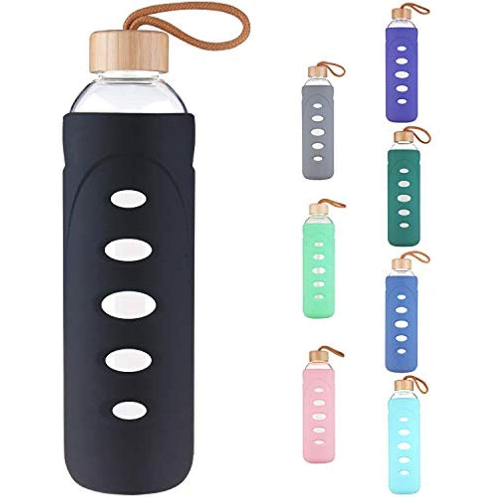 Dearray Sport Glas Trinkflasche 400ml 1000ml 1 Liter Borosilikatglas Wasserflasche Mit Silikonhulle Und Einzigart Reusable Water Bottle Water Bottle Bottle