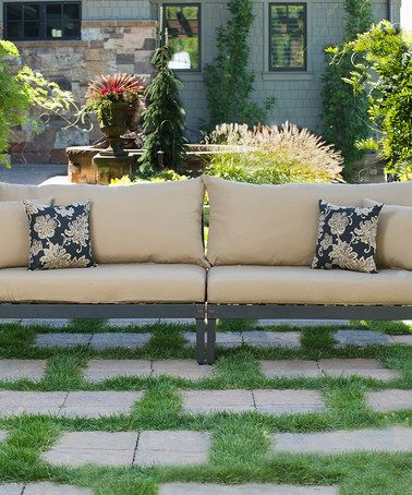 This Delano Beige Astoria Deep Seating Sofa is perfect! #zulilyfinds  i even like the pillows!