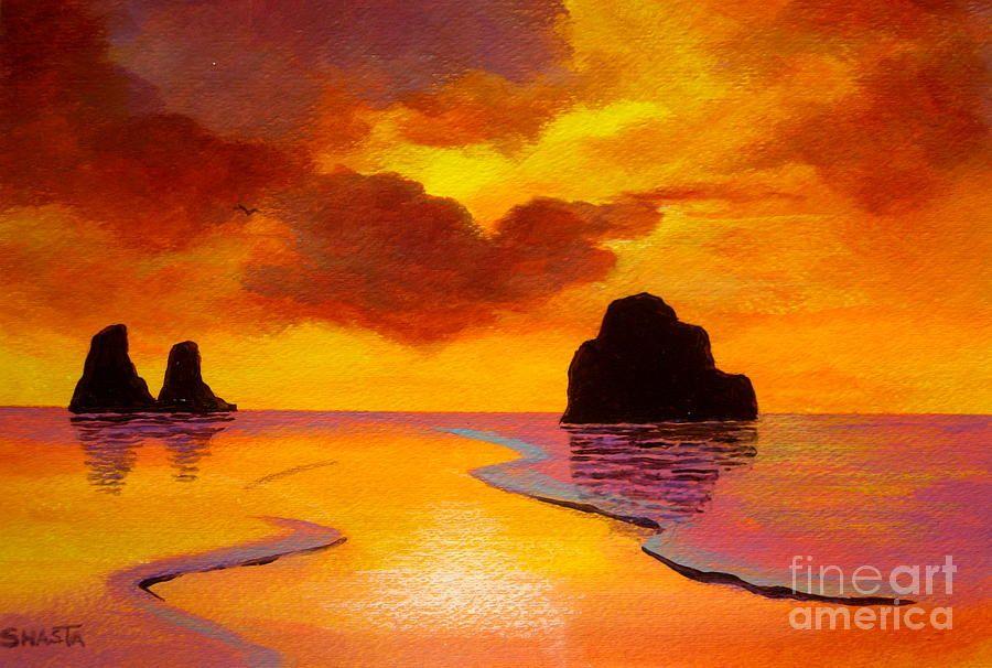 Serenity Scenes Landscape Landscapes Seascape Seascapes Beach Reflection Painting Seascape Sea Painting