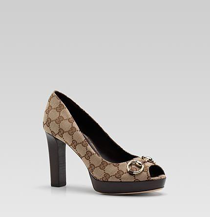 Gucci 'sunset horsebit' mid heel platform open-toe pump with horsebit detail