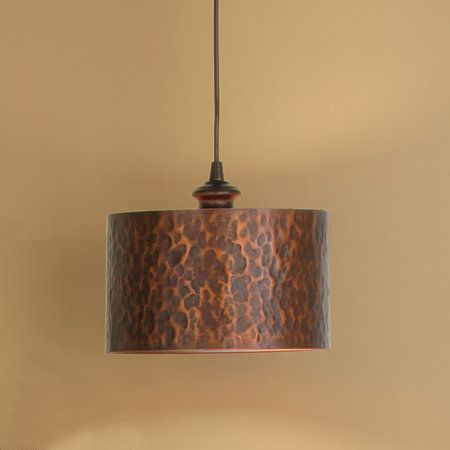 Hammered Copper Finish Drum Shade Pendant Light