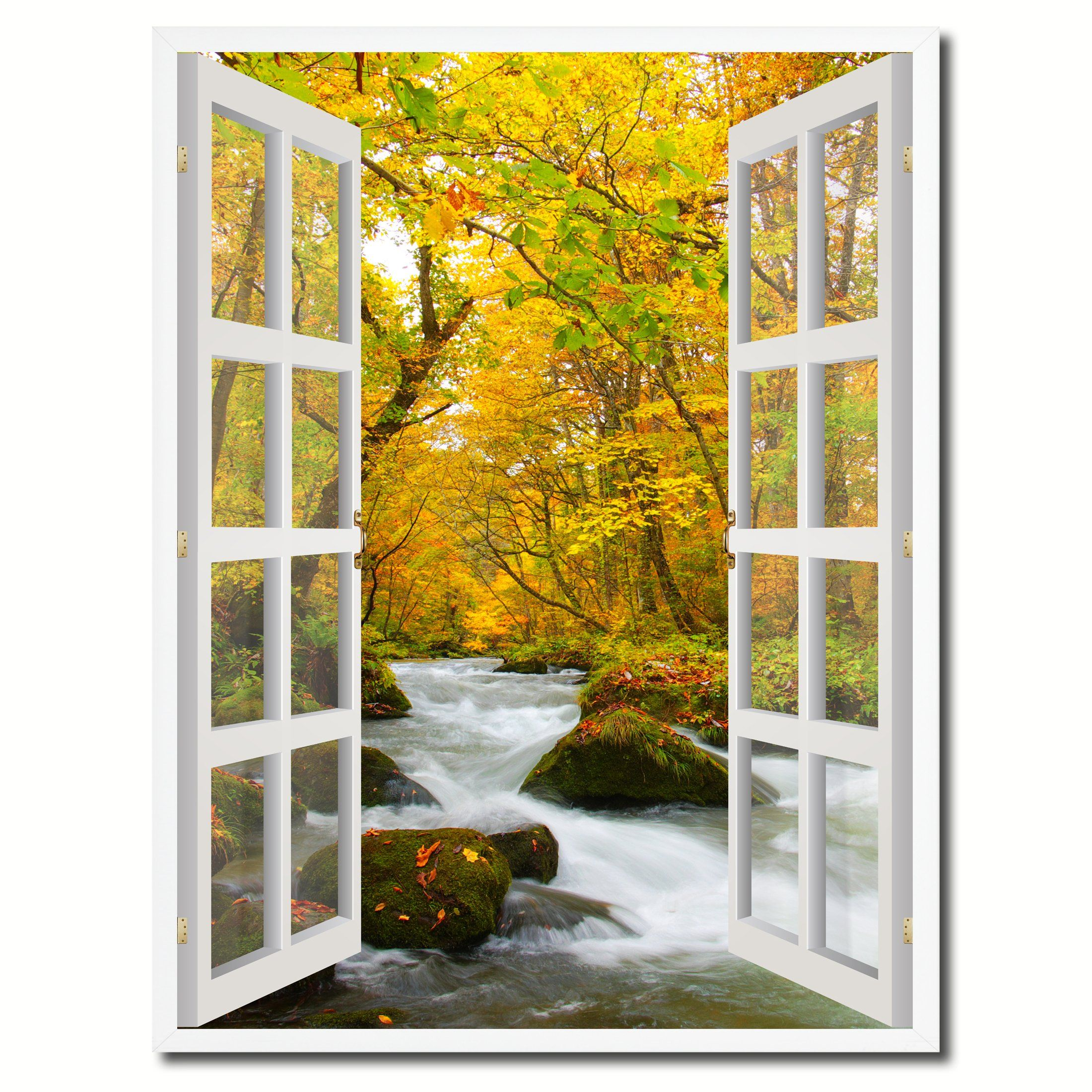 Autumn River Picture French Window Canvas Print with Frame Gifts ...