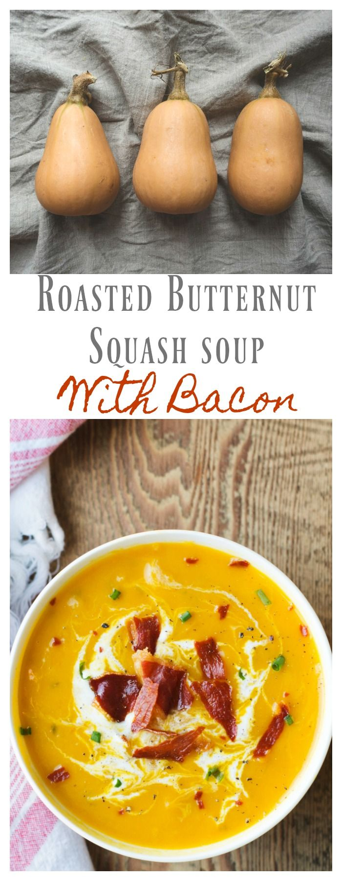 Roasted Butternut Squash Soup with Bacon - The Cooking Housewives - 2 Bees in a Pod