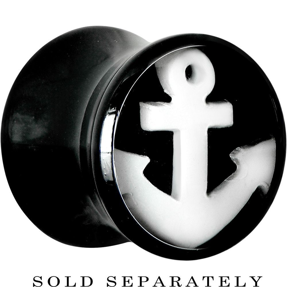 00 Gauge Black Acrylic Drop the White Anchor Saddle Plug
