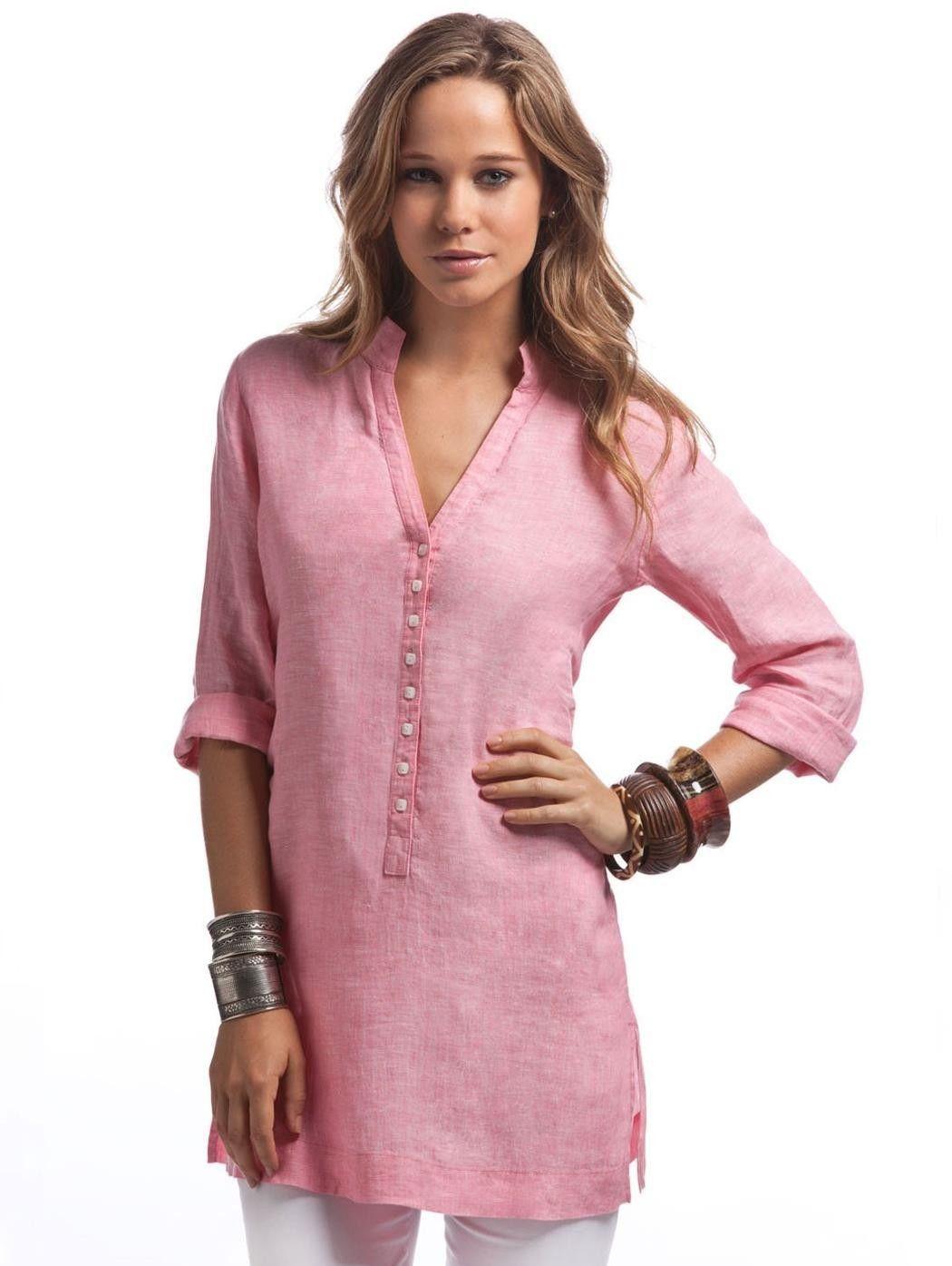e05ed5e282 Raspberry Linen Kimono Shirt - Womens Pink Linen Tunic |Island Company  Women's linen tunic. Relaxed fit with straight cut. Bell sleeves. Side  slits.