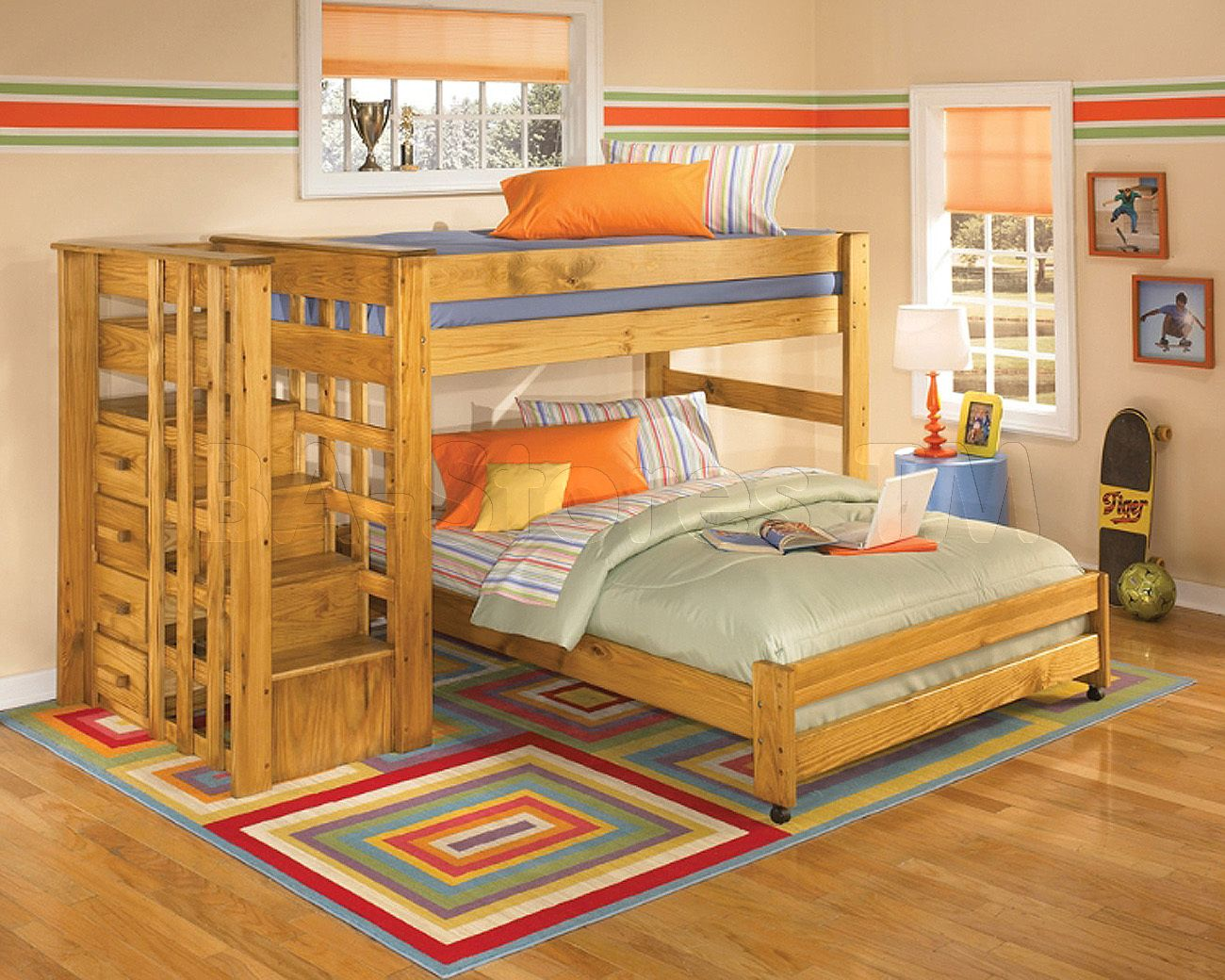 Twin Over Full Loft Bunk Bed With Stair Step Too Cute