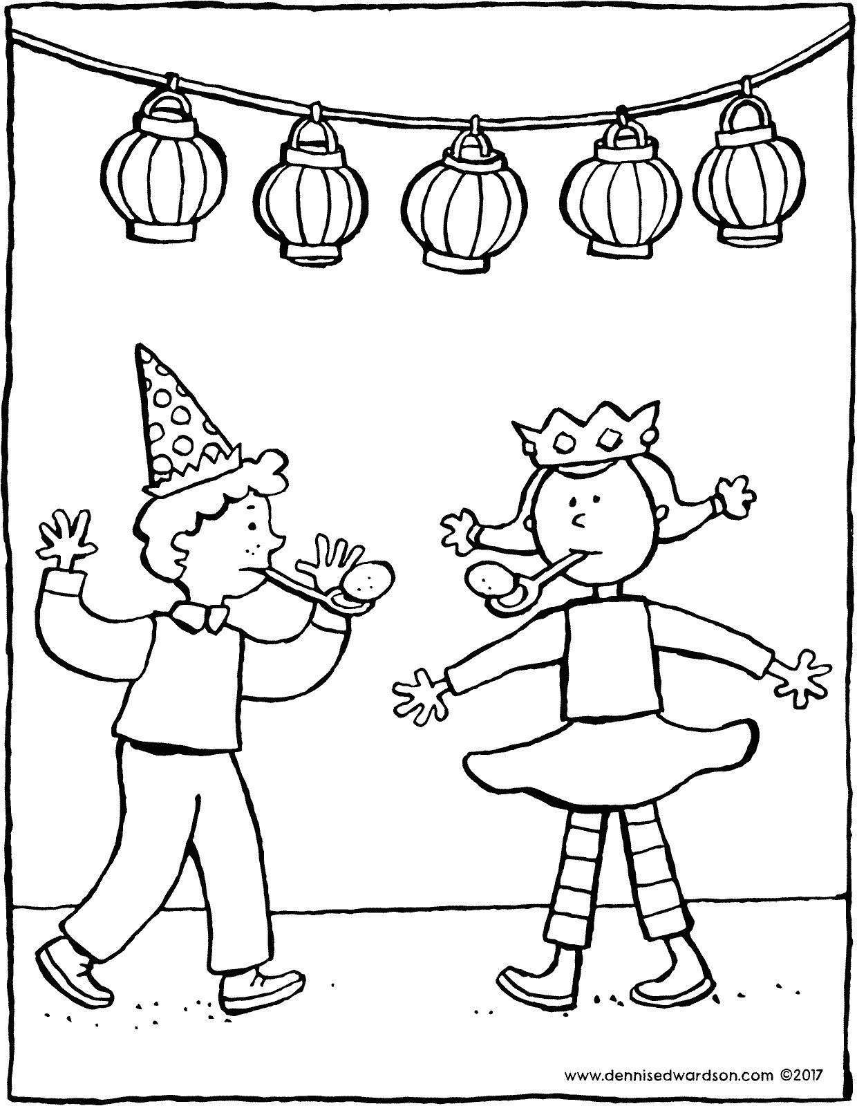 Birthday Party An Egg And Spoon Race At A Birthday Party Color The Coloring Page Using Bold Colors Birthday Coloring Pages Coloring Pages Blog Colors