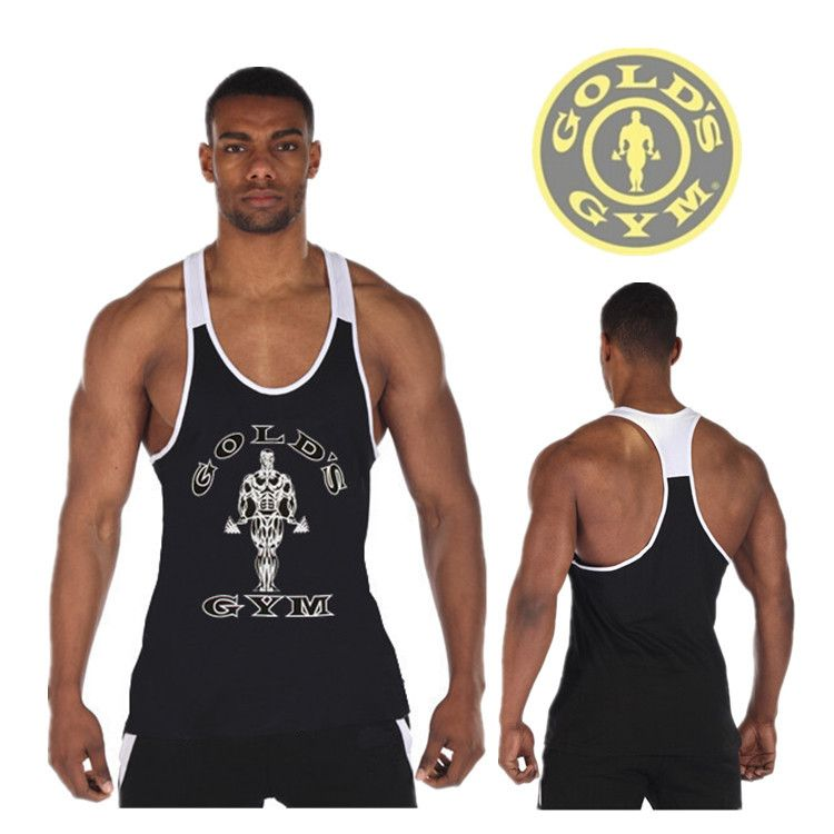 053429a473fc4 Newest Golds Gym Stringer Tank Tops Mens Y Back Deep Cut Bodybuilding and  Fitness Singlet Sport Muscle Sleeveless Shirt