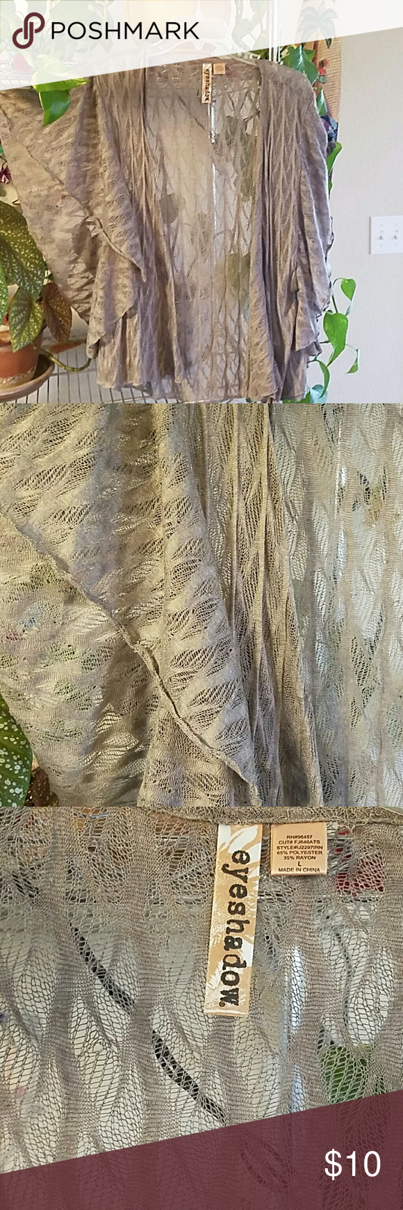 """Lace Duster Beautiful flowing lace look duster, great for spring or summer days to cover up any spaghetti strap top.  Length 23""""  65% polyester  35% rayon  Excellent condition Eyeshadow Sweaters Shrugs & Ponchos"""
