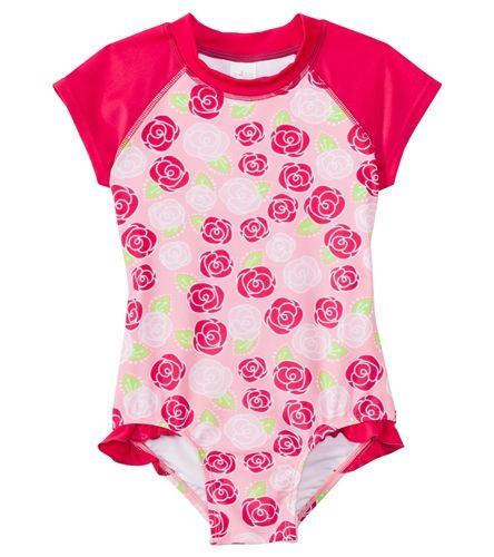 4c01c4c70e876 SnapMe Girls' Lucy Rosalita Ruffle S/S Rash Guard One Piece Swimsuit UVP 50+  (6mos-8yrs) at SwimOutlet.com – The Web's most popular swim shop