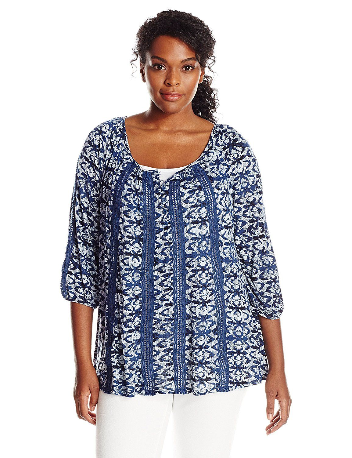 2LUV Womens 3//4 Sleeve A-Line Tunic W//Lace Trim