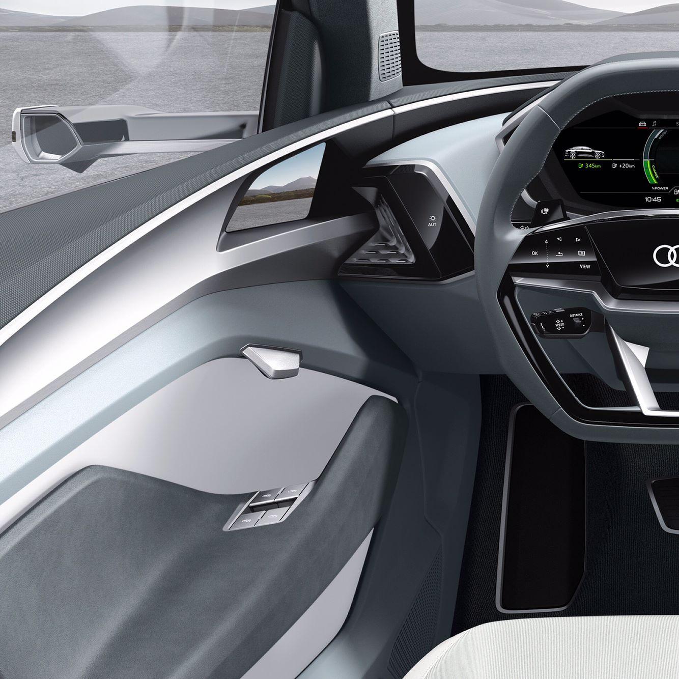 You Like The Teslamotors Interior Better Really Audi E Tron Sportback Concept Cockpit Audi Etronsportback Concept Auto Audi Car Detailing Car Interior