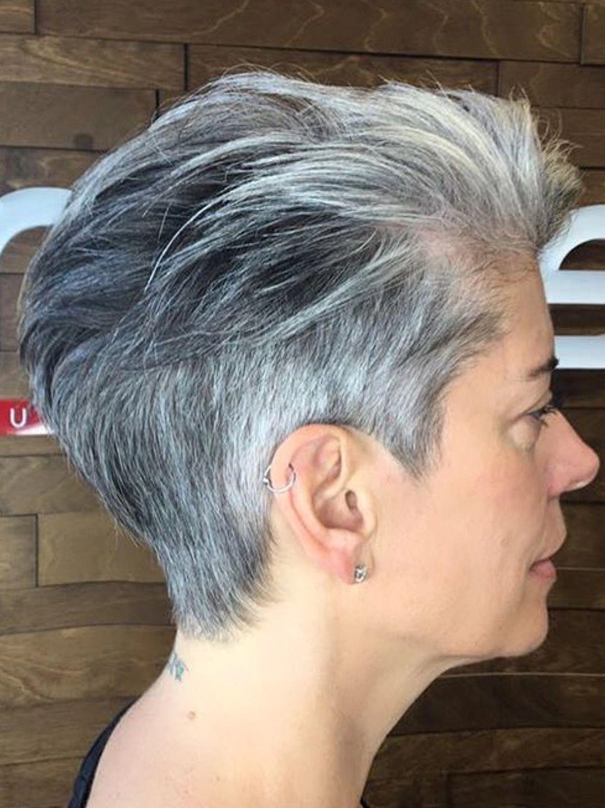 short grey hair | makeup ideas in 2019 | short hair styles