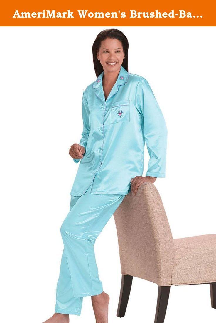 AmeriMark Womens BrushedBack Satin Pajamas MP 10P12P Aqua