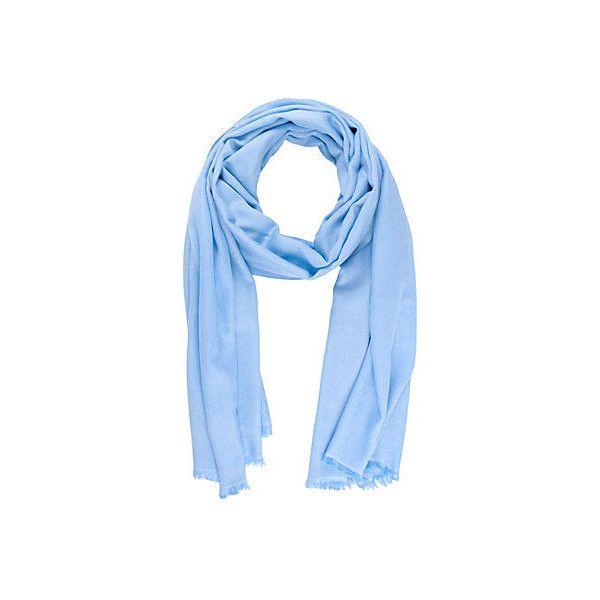 Cashmere Silk Eyelash-Fringe Scarf Aqua Scarves (5.360 RUB) ❤ liked on Polyvore featuring accessories, scarves and aquamarine