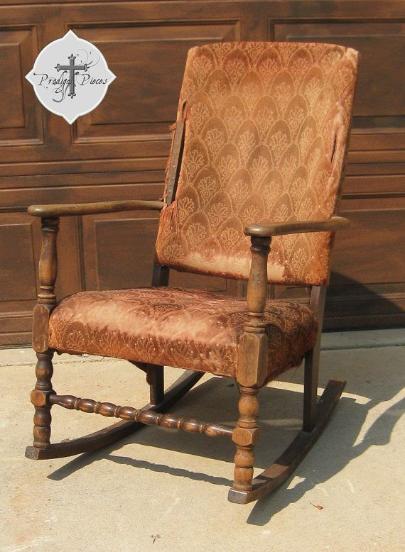 Custom Antique Vintage Upholstered rocking chair - can't wait to see what  Larissa turns - Custom Antique Vintage Upholstered Rocking Chair - RESERVED For Erin