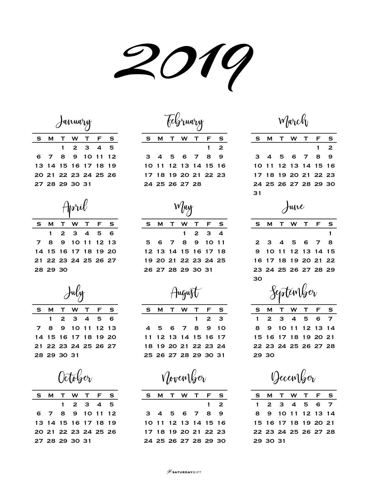 Minimal One Page Calendar For 2020 Free Printables Printable