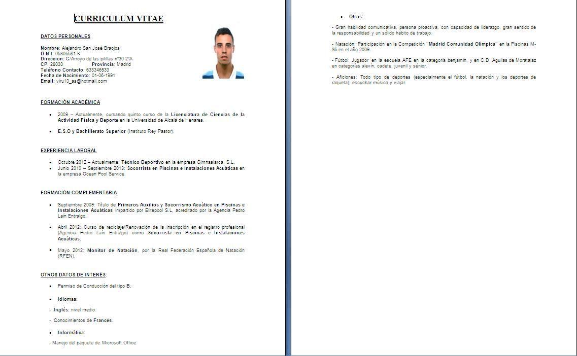 Curriculum vitae Word modelo de duas paginas | Modelo curriculo ...