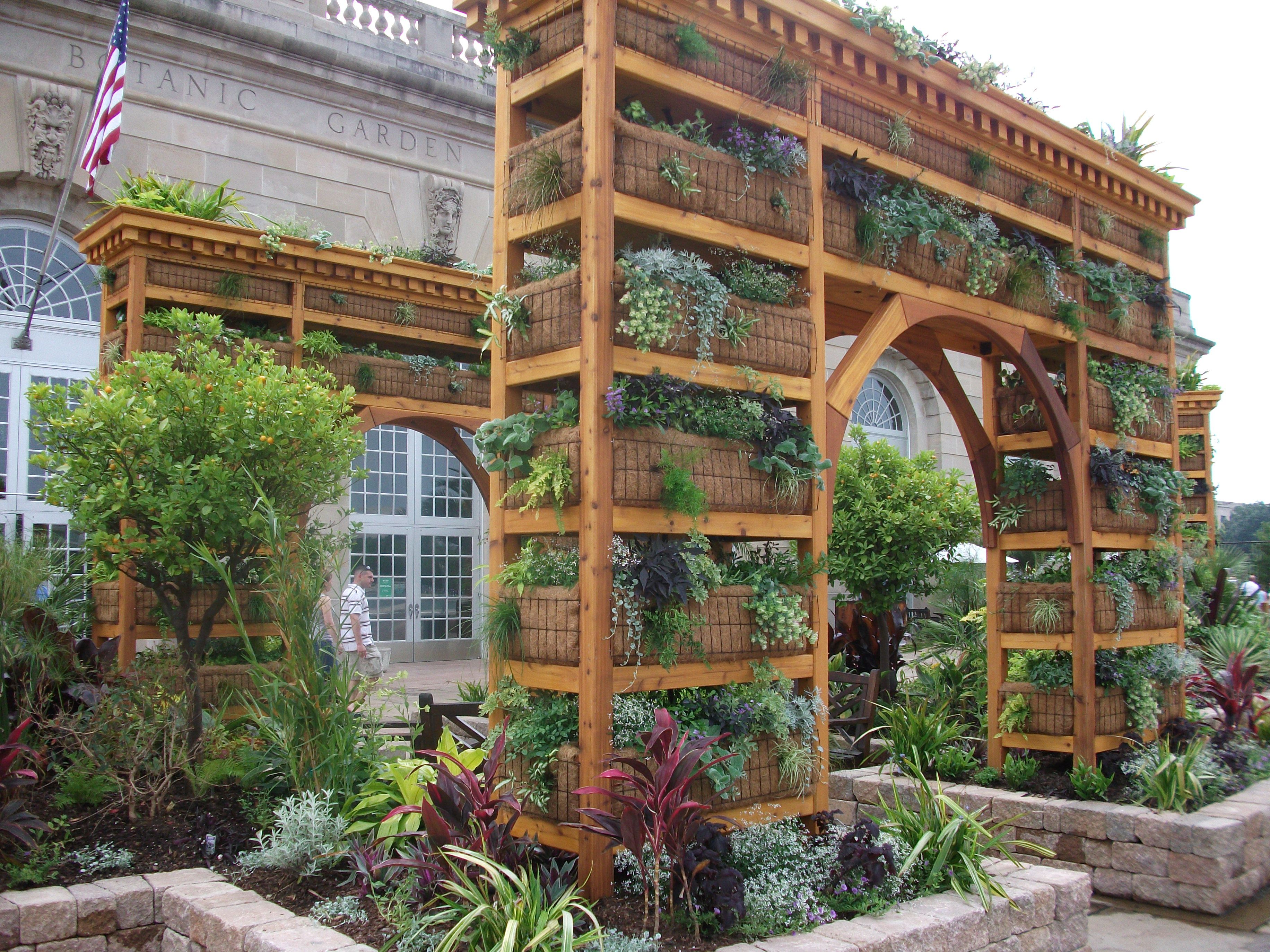 Stacked planters that make up an arch at the U.S. Botanical Gardens ...