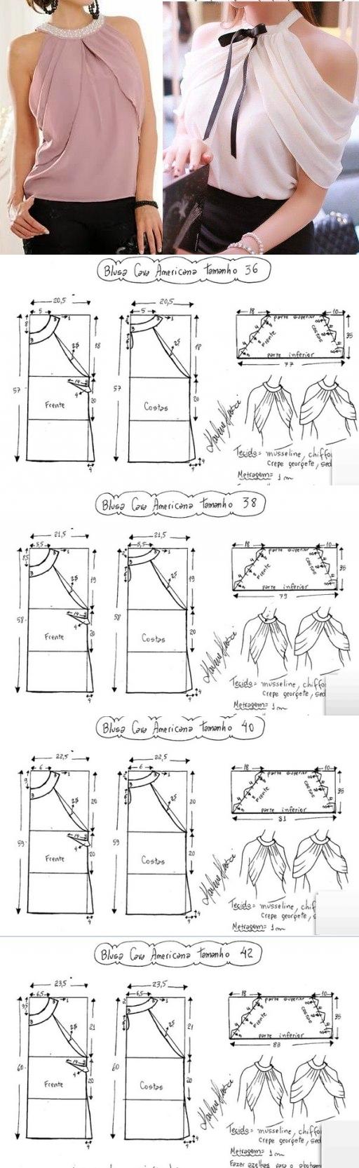 Hermoso top con el cortinaje. El patrón | Costuras | Pinterest ...
