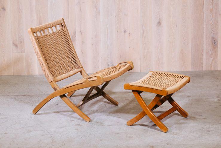 Hans Wegner Style Folding Chair With Ottoman Folding Chair