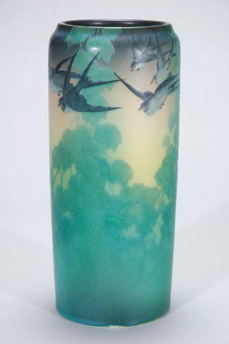 Rookwood Pottery, Cincinatti, Vellum Glaze decorated vase by Kataro Shirayamadani, 1906.