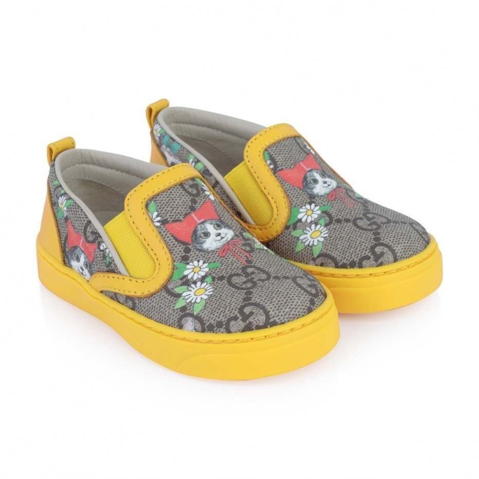 Details about GUCCI GIRLS GG PET   FLOWER SNEAKERS- Size 9.5 (ITA 26 ... 73f65a7d2