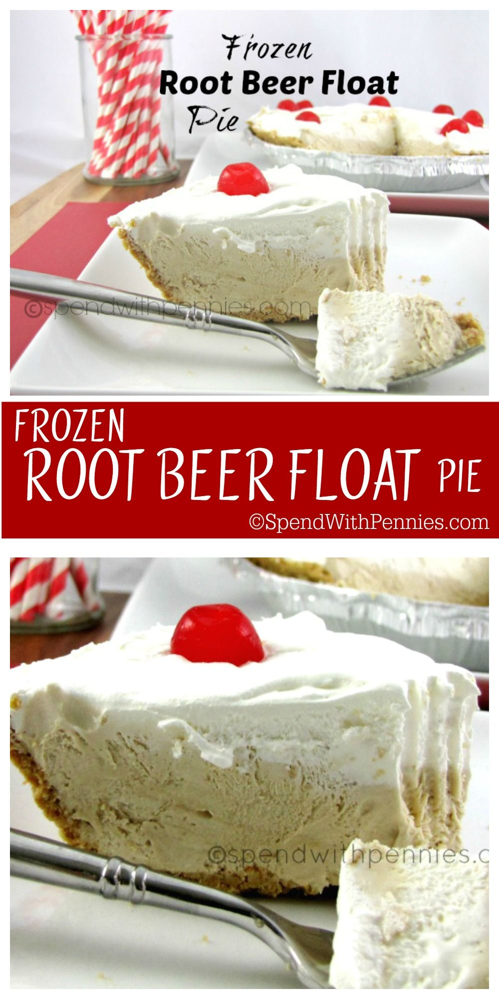 Frozen Root Beer Float Pie - Spend With Pennies