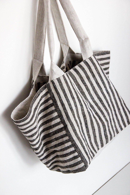 Bolso de lino bilateral del ENVÍO LIBRE – bolso del diseñador – totalizador negro – bolso de los ultramarinos – bolso del verano