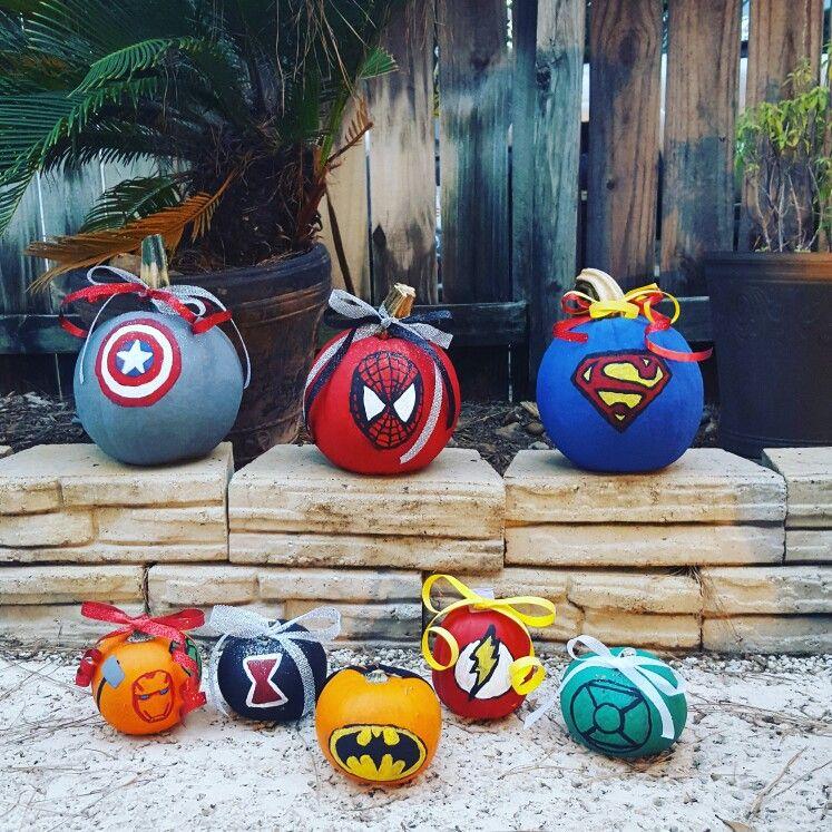 Superhero Painted Pumpkins Disney Pumpkin Painting Pumpkin