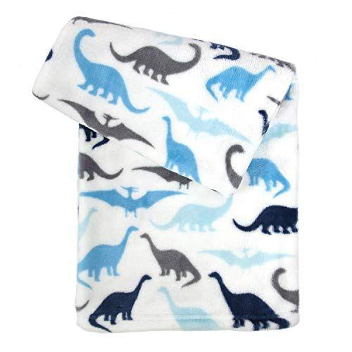 Tadpoles Ultra Soft Microfleece Plush Dinosaur Baby Blanket 30x40 Blue Grey Dinosaur Baby