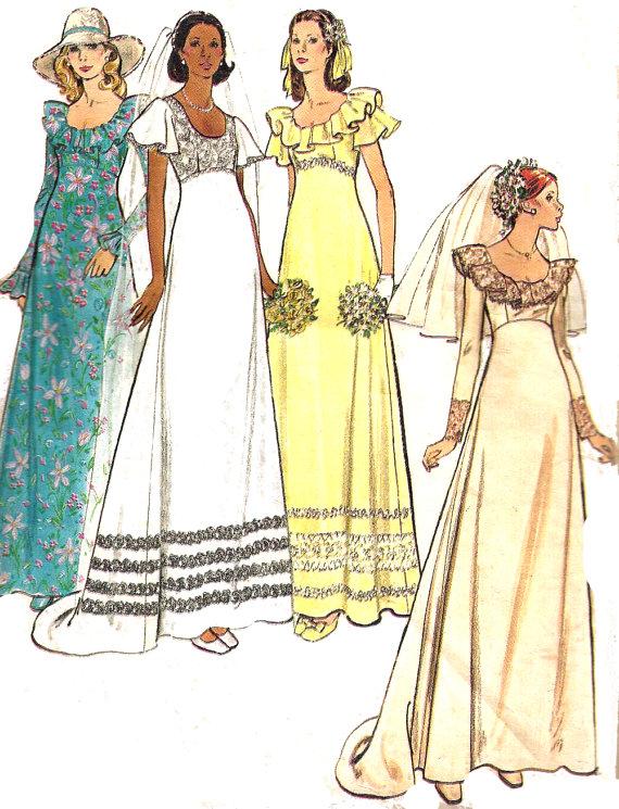 Wedding Gown Pattern 1970s Bridesmaid Dress Butterick Uncut ...