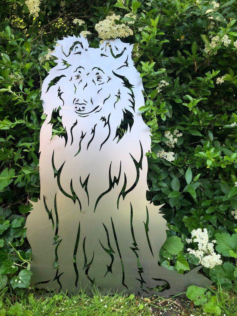 Airedale Terrier Rostfigur 74 cm mit Bodenplatte massiv Gartenfi Edelrost Hund