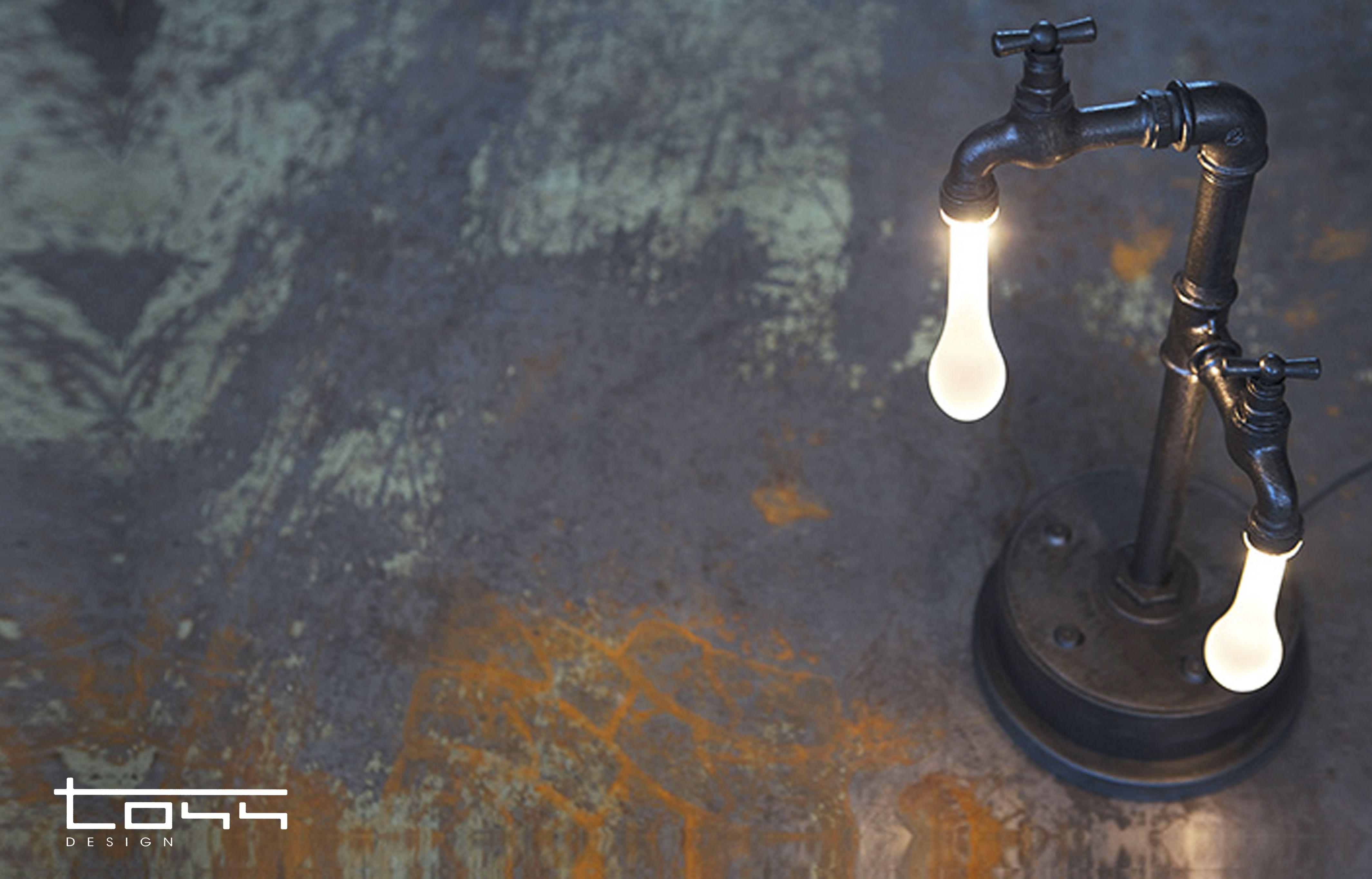 Lampada Da Interni Realizzata Con Tubi Idraulici Punti Luce Goccia