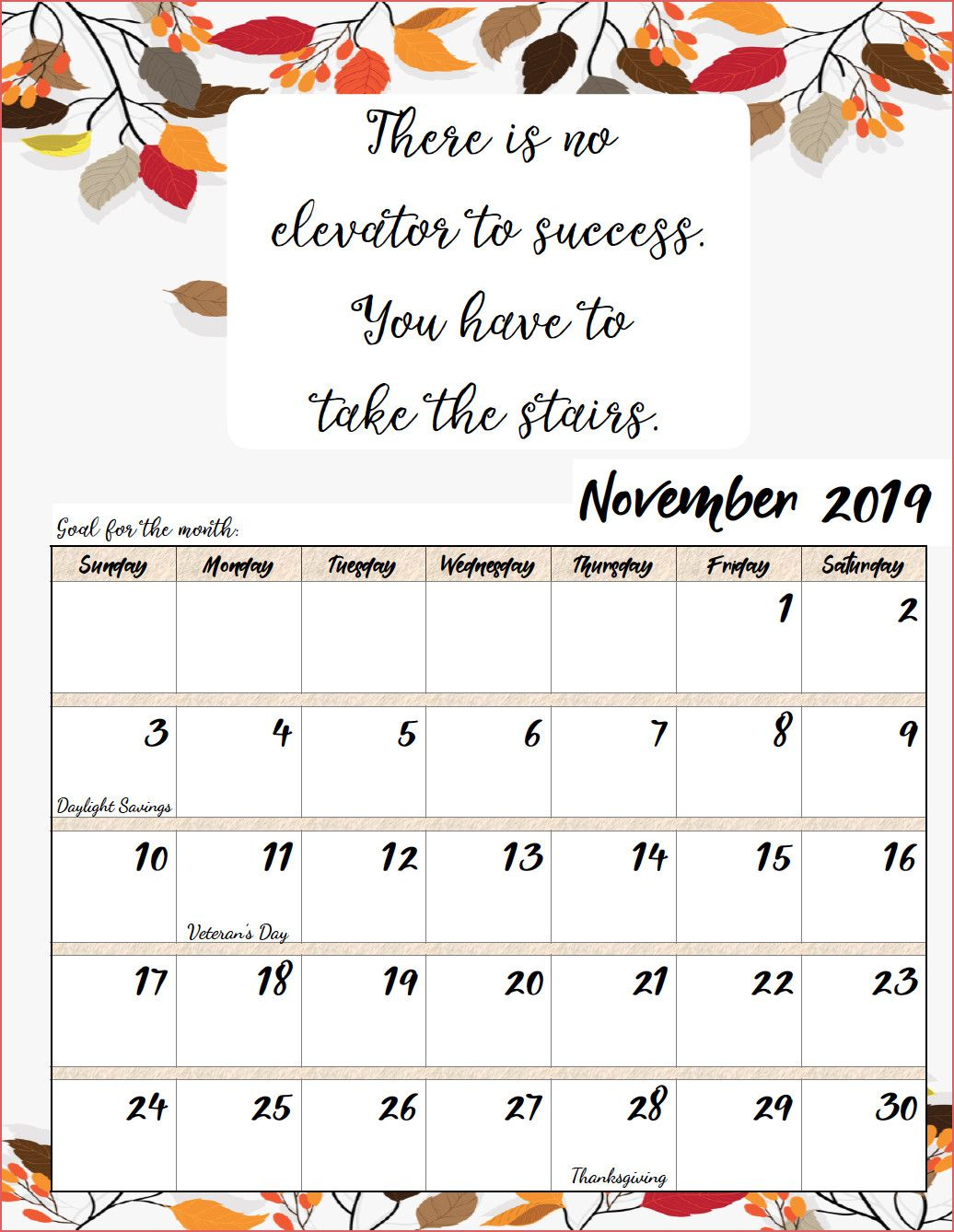 November Calendar 2019 Holidays 99 Best Printable Calendar