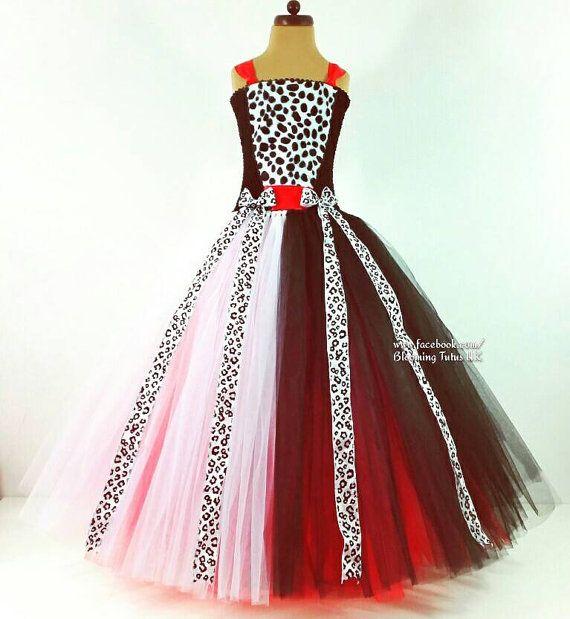 Cruella De Vil Inspired Long Tutu Dress-Birthday, Party, Photo Prop, Pageant, Fancy Dress, 101 Dalmations