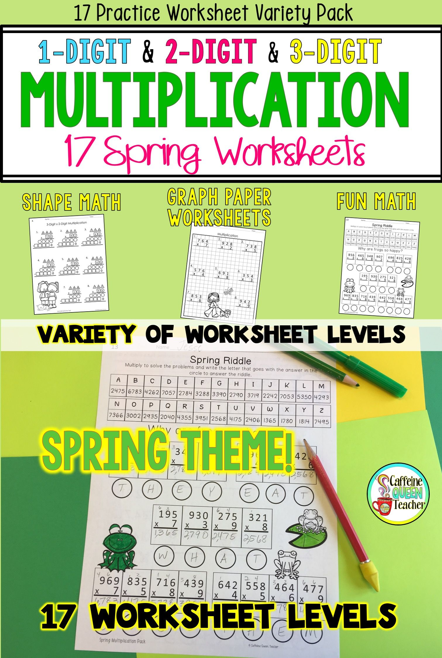 Multiplication Worksheets For Spring Bundle