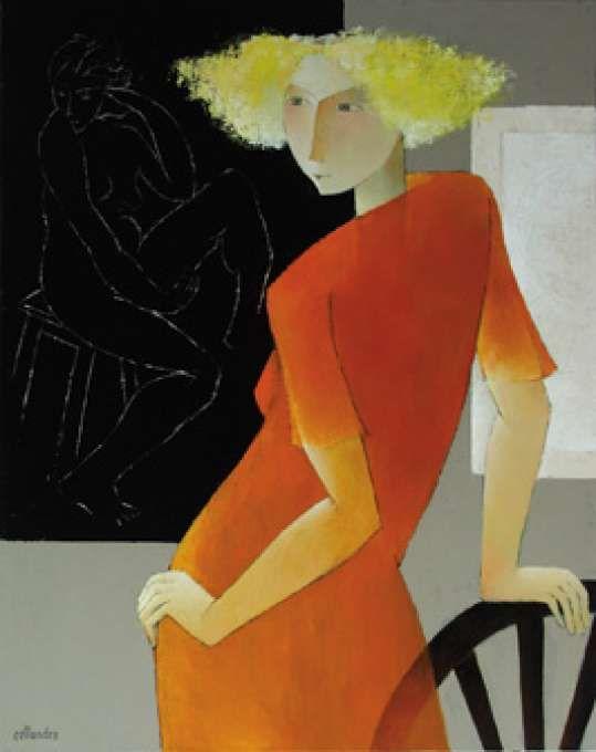 orange - woman - figurative painting - Françoise Collandre