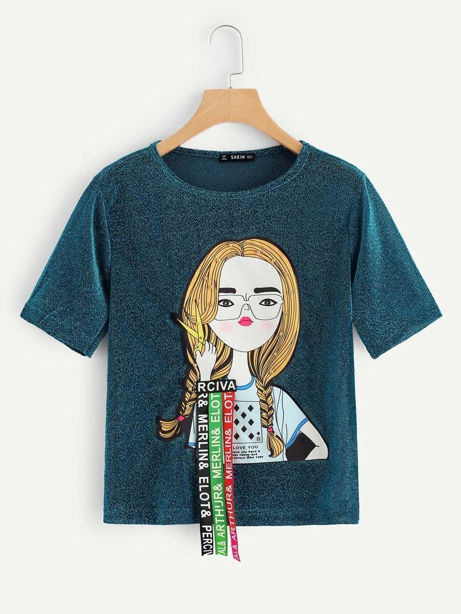 Azul Recomendado Lindo Camisetas   Glitter tee, Short tops ...