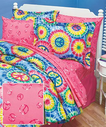The Peace Bedding Collection features cozy microfiber construction. The sets are ideal for the bedroom or dorm of a teen or tween. The Comforter Set features a tie-dye look in a pattern of starbursts