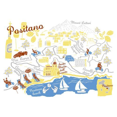Robert Littleford Map Of Positano Positano Travel