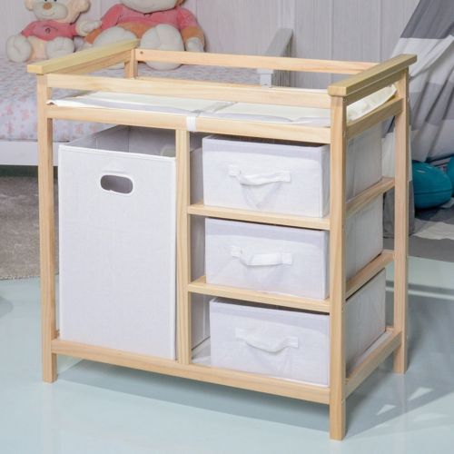 Infant Baby Changing Table With 3 Storage Baskets Changing Pad and Safety Belt & Infant Baby Changing Table With 3 Storage Baskets Changing Pad and ...