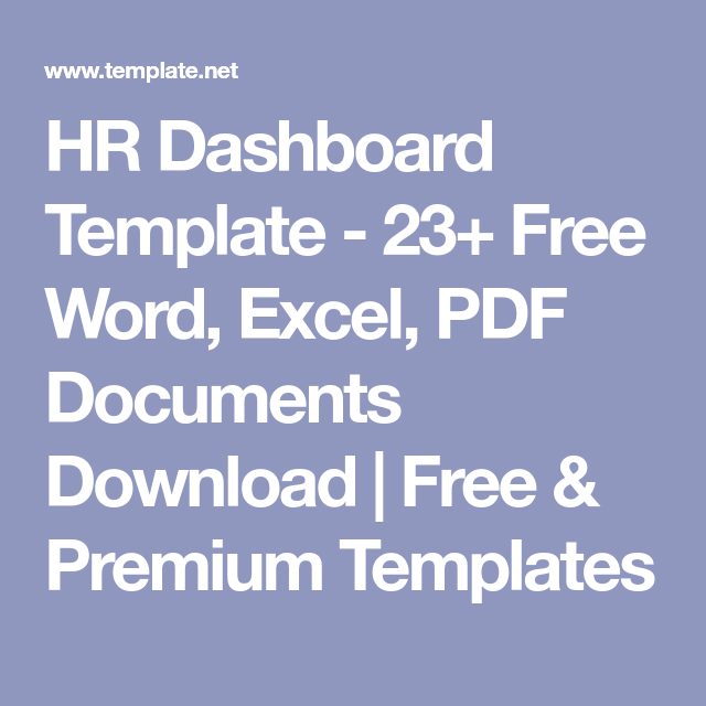 Hr Dashboard Template   Free Word Excel Pdf Documents