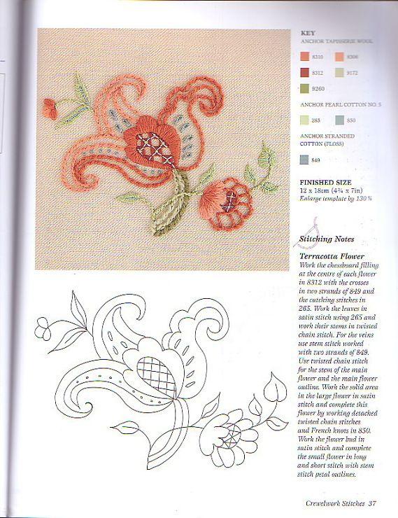 Jacobean Flower • Crewel Embroidery | ornek | Pinterest | Bordado ...
