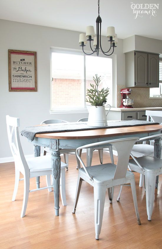 Superb Light Blue Milk Painted Dining Table With Metal Chairs
